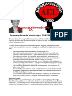 Rosemary Richards Selection Criteria