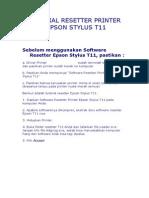 Tutorial Resetter Printer Epson Stylus t11