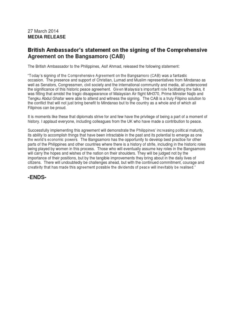 British Ambassadors Statement On The Signing Of The Comprehensive