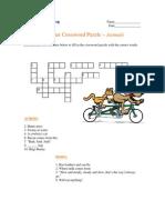 Beginning Crossword Puzzle - Animals