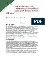 El diseño de un plan estratégico en sistemas de información en el Servicio de Odontología del Centro de Salud de Siloé