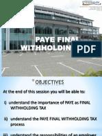 PAYE- Final Tax