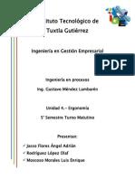 Ingeniería en procesos. Unidad 4 - Ergonomía