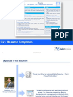 Resume / CV templates in editable Powerpoint