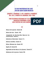 indice por materias de los Sueños de San Juan Bosco