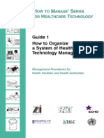 Guide 1 - How to Organize a System of Healthcare Technology Management