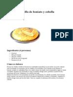 Tortilla de Boniato y Cebolla