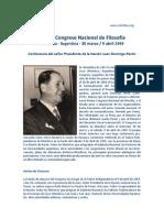 Juan Peron - Discurso en el Primer Congreso Filosofia