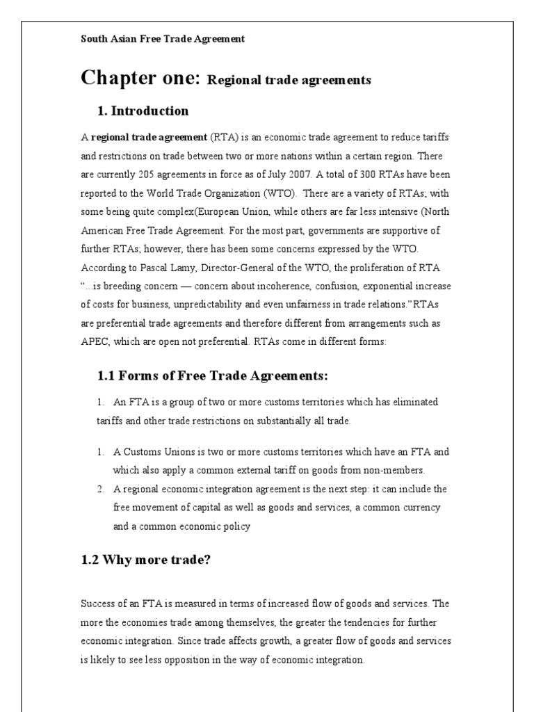 South Asian Free Trade Agreement World Trade Organization Free Trade