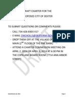 Dexter Village City Charter Draft — Updated March 28, 2014