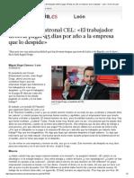 20140327 El líder de la patronal CEL_ «El trabajador debería pagar 45 días por año a la empresa que lo despide» - León - Diario de León