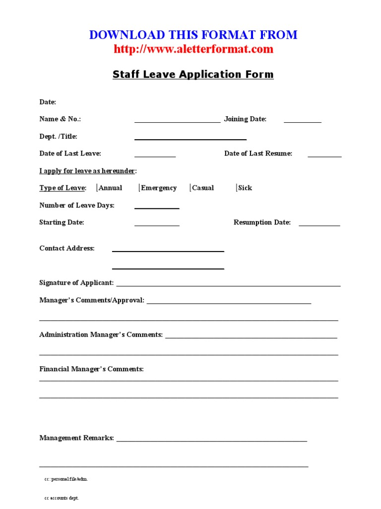 Staff Leave Application Form – Employee Leave Application Form
