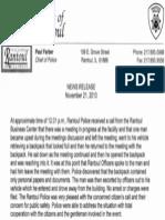 RPD Press Release 11.21.13