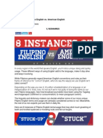 8 Instances of Filipino English vs. American English