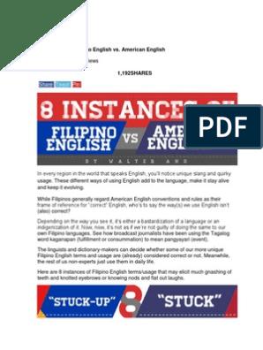 8 Instances of Filipino English vs  American English
