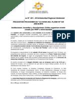 BOLETIN de PRENSA 001 - 2014 -Conferencia de Prensa La Hora Del Planeta