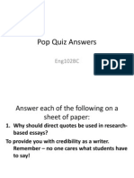 Eng102 Pop Quiz Answers