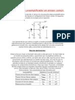Cálculo de un preamplificador en emisor común