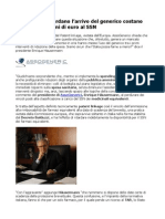 AssoGenerici Patent Linkage costa ogni mese milioni di euro al SSN