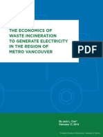 The Economics of Waste Incineration to Generate Electricity in the Region of Metro Vancouver