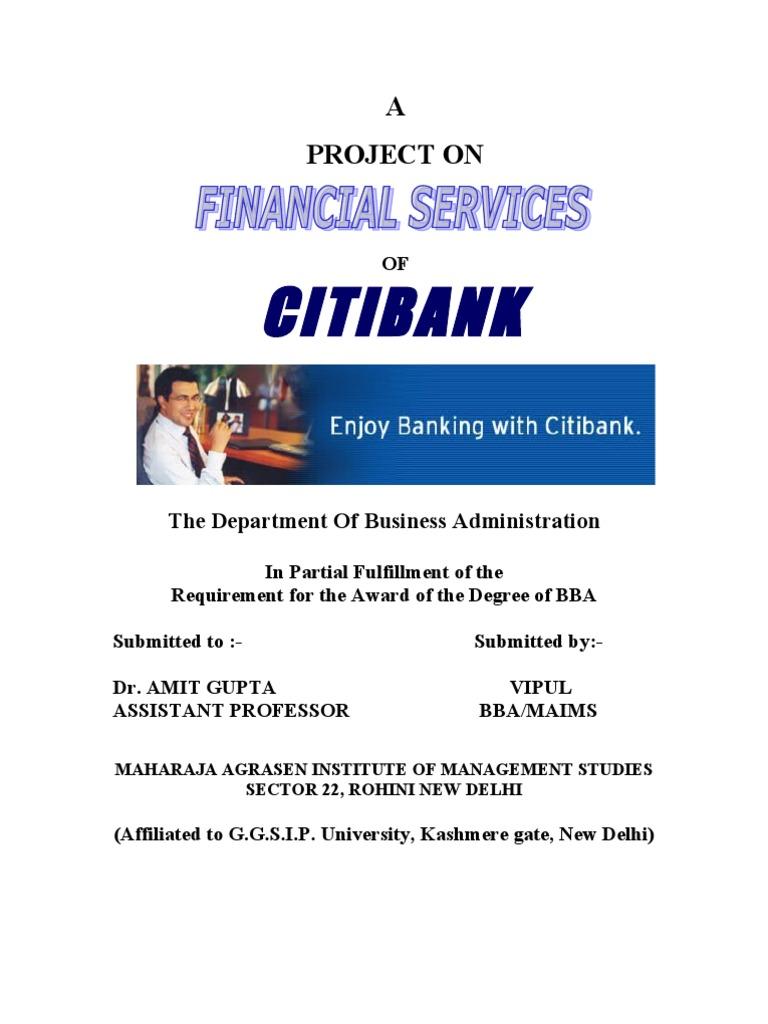 Project On Citi Bank Citigroup Citibank