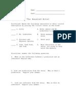 the haunted hotel worksheet