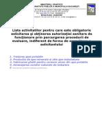 Lista Activitatilor Pentru Care Este Obligatorie Autorizarea Sanitara