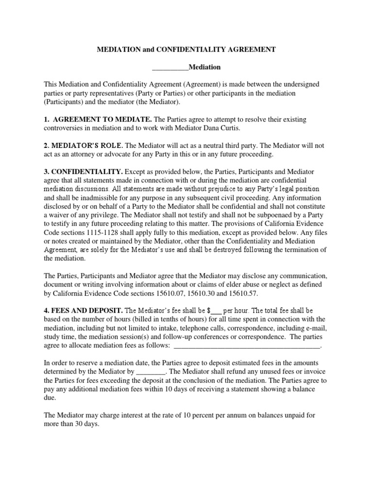Dcm Mediation And Confidentiality Agreement Mediation