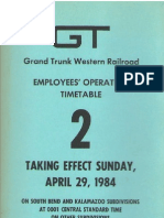 1984 Grand Trunk Western Railroad Employees' Timetable