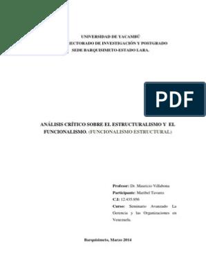 Análisis Crítico Sobre El Estructuralismo Y El Funcionalismo