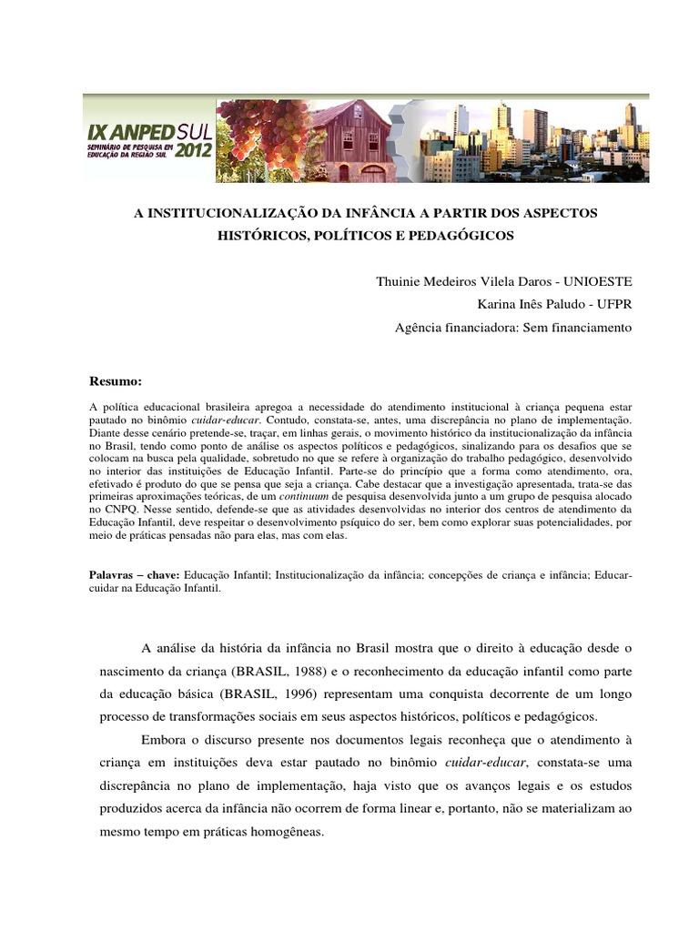 7f84fd7e29 Brasil - A INSTITUCIONALIZAÇÃO DA INFÂNCIA A PARTIR DOS ASPECTOS históricos  politicos e pedagogicos