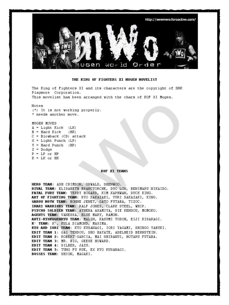Move List para KOF XI (MUGEN) | Video Game Companies Of