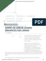 EXAMES de SANGUE _ Exames Laboratoriais Mais Comuns - MD