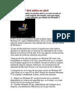 Windows XP dirá adiós en abril