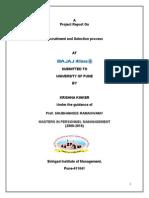 HR Recruitment Selection Project of BAJAJ ALLIANZ