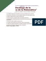 Decalogo de La Didactica de La Matematica