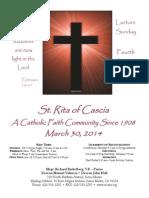 St. Rita Parish Bulletin 3/30/2014