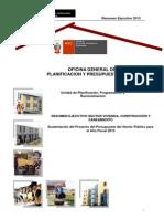 Resumen Ejecutivo Presupuesto 2013 Ministerio Vivienda - Perú