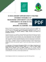 Final Advert Phd Scholarship With Logo