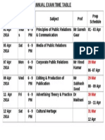 BVB Exam Time Table PG DIP PUBLIC RELATION 2014