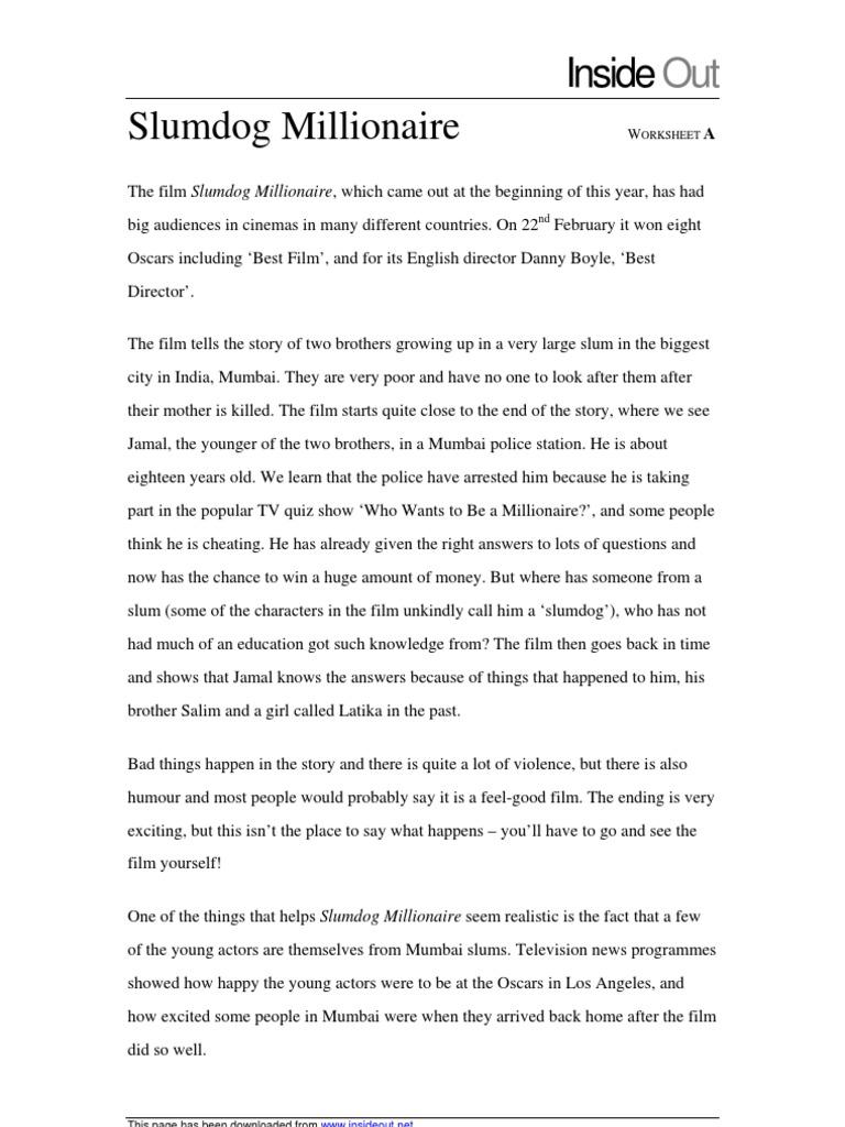 Slumdog millionaire resume english custom paper ghostwriting site us