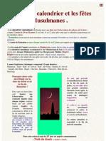 La Lune, Le Calendrier Et Les fêtes Musulmanes .