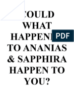 Could What Happened to Ananias and Sapphira Happen to YOU?