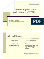 positive and negative quick reference