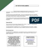 Hiv Test Kit Disclaimers