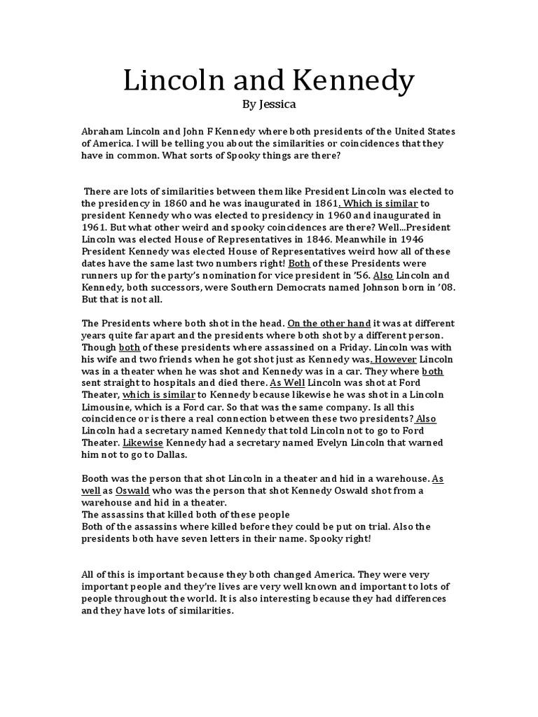 similarities between jfk and abraham lincoln