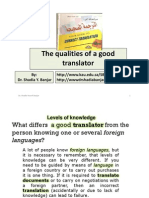The Qualities of a Good Translator , By Dr. Shadia Yousef Banjar