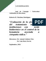 Acido Hialuronico y Cistopatia Radulica