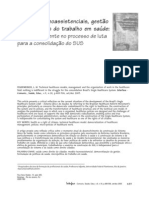 Modelos tecnoassistenciais, gestão e organização do trabalho em saúde