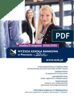 Informator 2014 - Studia II stopnia - Wyższa Szkoła Bankowa w Poznaniu